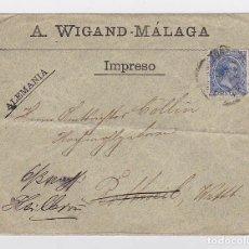 Sellos: SOBRE IMPRESO CIRCULADO, SELLO ALFONSO XIII TIPO PELÓN. A. WIGAND - MALAGA. Lote 112033163