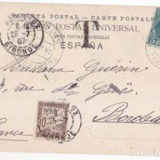 Sellos: BONITA POSTAL DE FUENTERRABÍA. GUIPÚZCOA. PAÍS VASCO. 1907. CIRCULADA A FRANCIA TASADA CON SELLO.. Lote 112230443