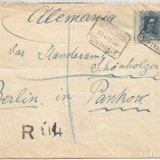 Sellos: SANTANDER CANTABRIA 1926 CC CERTIFICADA A ALEMANIA AL DORSON MAT BILBAO CAMBIO Y LLEGADA BERLIN. Lote 113240087