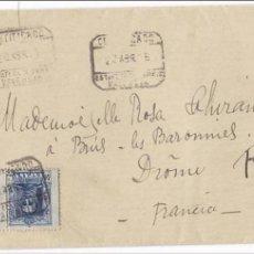 Sellos: CM2-71-CERTIFICADO PAREJA VAQUER VALENCIA-FRANCIA 1926.LACRES. Lote 118464831