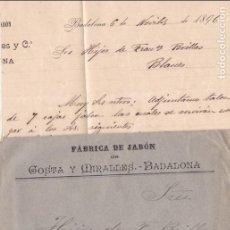 Sellos: CM2-73-CARTA PELÓN MATASELLOS CARTERÍA BADALONA-BLANES 1896. CON TEXTO. Lote 118466103