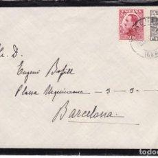 Sellos: CM2-76-CARTA LUTO VILADRAU (GERONA)-BARCELONA 1930. DERECHO DE ENTREGA . Lote 118468151