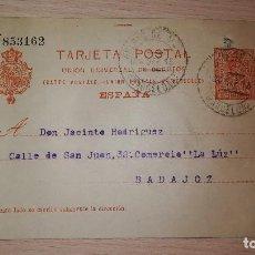 Sellos: ENTERO POSTAL ALFONSO XIII, DIRIGIDA A COMERCIO LA LUZ DE BADAJOZ POR BERNARDINO OSETE,AÑO 1915. Lote 118603739