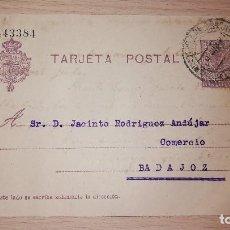 Sellos: ENTERO POSTAL ALFONSO XIII, DIRIGIDA A COMERCIO LA LUZ DE BADAJOZ POR HIJOS DE PEDRO MARTIN,AÑO 1921. Lote 118604027
