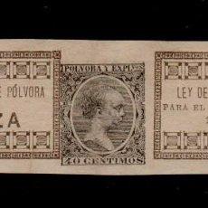 Sellos: 0546 SELLO FISCAL IMPUESTO SOBRE POLVORA DE CAZA (PARA 1 KILO DE PESO) AÑO 1895-96 VARIEDAD CON SELL. Lote 118746103