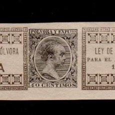 Sellos: 0546 SELLO FISCAL IMPUESTO SOBRE POLVORA DE CAZA (PARA 1 KILO DE PESO) AÑO 1895-96 (PEQUEÑO CORTE LA. Lote 118746171