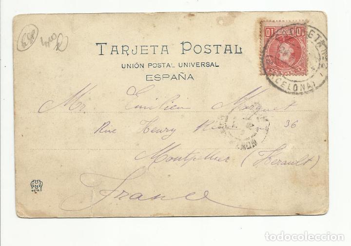 POSTAL FUENTE CIRCULADA 1904 DE BARCELONA A MONTPELLIER FRANCIA VER FOTO (Sellos - España - Alfonso XIII de 1.886 a 1.931 - Cartas)