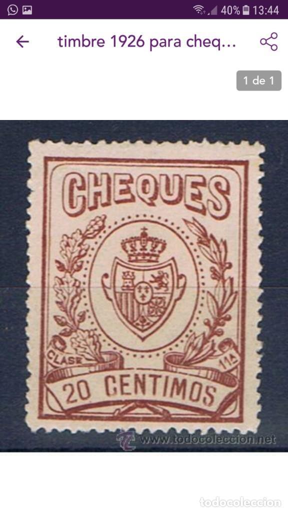 Sellos: SELLO CHEQUES 20 CENTIMOS ESCUDO AGUILA - Foto 3 - 119344703