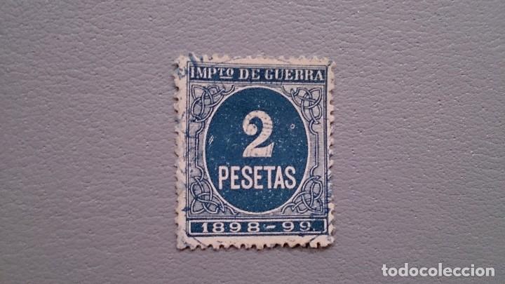 ESPAÑA - 1898-99 - SELLO IMPUESTO DE GUERRA - 2 PESETAS - BIEN CENTADO - MATASELLOS AZUL. (Sellos - España - Alfonso XIII de 1.886 a 1.931 - Nuevos)