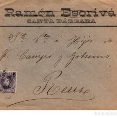 Sellos: SOBRE DE RAMON ESCRIVA EN SANTA BARBARA -TARRAGONA- ---CON CARTERÍA----. Lote 121658359