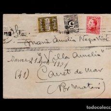 Sellos: L16-14 HISTORIA POSTAL SOBRE CIRCULADO CON FRANQUEO TRICOLOR, CON SELLO DE DERECHO DE ENTREGA Y DE . Lote 125640703