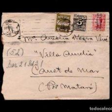 Sellos: L16-14 HISTORIA POSTAL SOBRE CIRCULADO CON FRANQUEO TRICOLOR CON SELLO DE DERECHO DE ENTREGA Y DE A. Lote 125641523