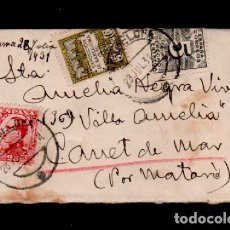 Sellos: L16-14 HISTORIA POSTAL SOBRE CIRCULADO FRANQUEADO CON SELLO DE DERECHO DE ENTREGA Y DE AYUNTAMIE. Lote 125642603