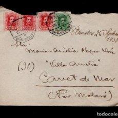 Sellos: L16-14 HISTORIA POSTAL SOBRE CIRCULADO CON FRANQUEO ALFONSO XIII Y MATASELLOS COMPLETO AMBULANTE BA. Lote 125899743