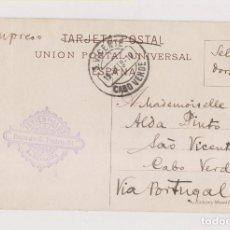 Sellos: POSTAL DE BARCELONA A CABO VERDE. 1910. RARÍSIMO DESTINO. SELLO EN EL ANVERSO. VER. Lote 126102355