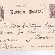 Sellos: F26-18-ENTERO POSTAL CERVANTES ROURELL TARRAGONA 1942. MATASELLOS LINEAL FECHA ROJO. Lote 126526587