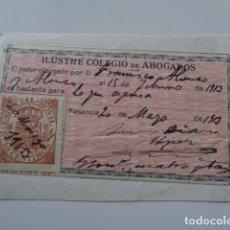 Sellos: PLASENCIA. CACERES. COLEGIO DE ABOGADOS. BASTANTEO. TIMBRE DE 10 CENTIMOS. 1913. Lote 128672719