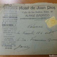 Sellos: ALANGE. BADAJOZ. HOTEL DE JUAN DIOS. CARTA ANTIGUA. SOBRE PUBLICITARIO. Lote 128724128
