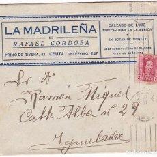 Sellos: CM1-22-CARTA CALZADOS LA MADRILEÑA CEUTA 1929. DORSO PROVEEDOR MINISTERIO DE GUERRA. Lote 130216971
