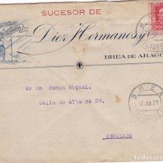 Sellos: CM1-22-CARTA SANDALIA HISPANIA BREA DE ARAGON ZARAGOZA 1927. GRAN VIÑETA DORSO 67 X 45 MM . Lote 130217059