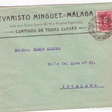 Sellos: CM1-22-CARTA CURTIDOS E MINGUET MÁLAGA 1928. VIÑETA DORSO 51 X 36 MM SEMANA SANTA SUNTUOSAS PROCESI. Lote 130217171