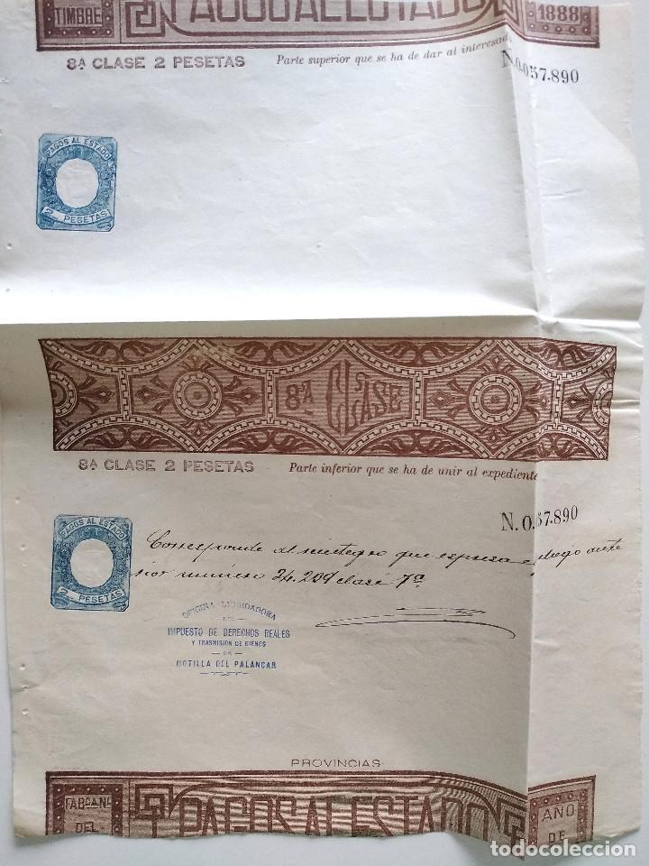 HOJA COMPLETA PAGOS AL ESTADO AÑO 1888 - 8ª CLASE 2 PESETAS - MOTILLA DEL PALANCAR (CUENCA) (Sellos - España - Alfonso XIII de 1.886 a 1.931 - Usados)