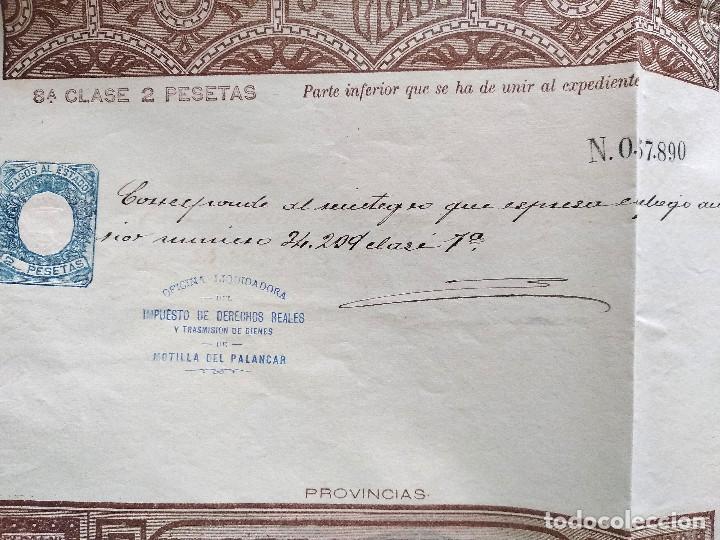 Sellos: HOJA COMPLETA PAGOS AL ESTADO AÑO 1888 - 8ª CLASE 2 PESETAS - MOTILLA DEL PALANCAR (CUENCA) - Foto 2 - 130245482