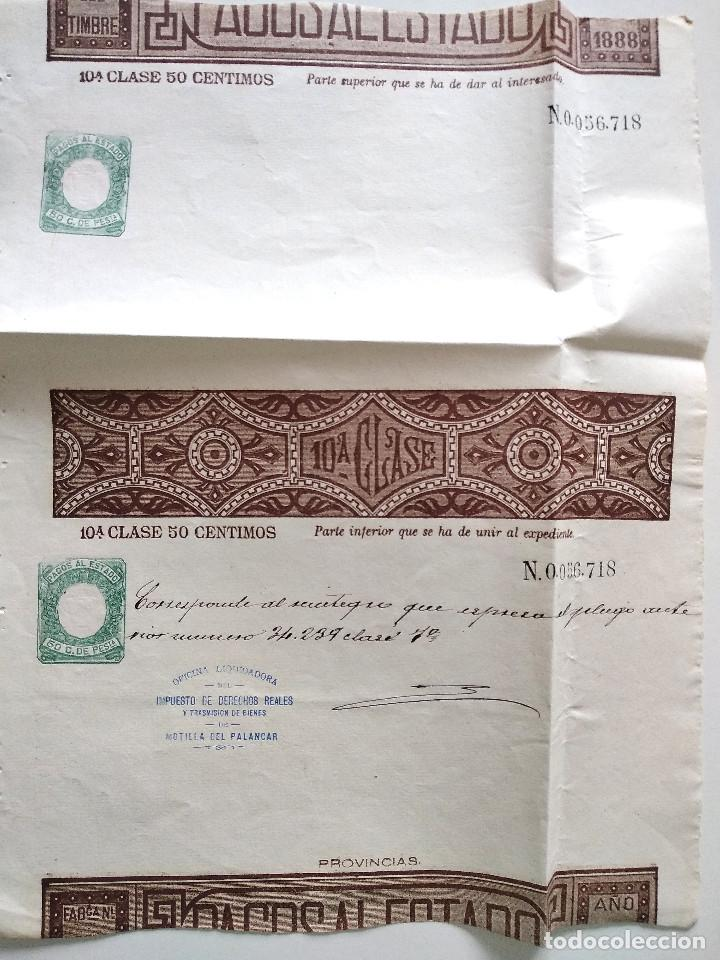 HOJA COMPLETA PAGOS AL ESTADO AÑO 1888 - 10ª CLASE 50 CÉNTIMOS - MOTILLA DEL PALANCAR (CUENCA) (Sellos - España - Alfonso XIII de 1.886 a 1.931 - Usados)