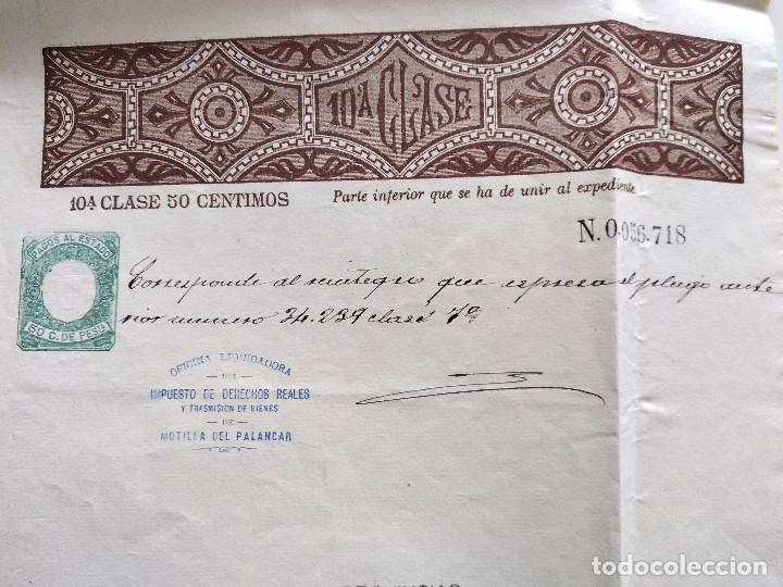 Sellos: HOJA COMPLETA PAGOS AL ESTADO AÑO 1888 - 10ª CLASE 50 CÉNTIMOS - MOTILLA DEL PALANCAR (CUENCA) - Foto 2 - 130245542