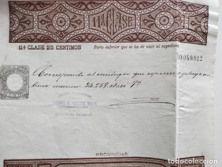Sellos: HOJA COMPLETA PAGOS AL ESTADO AÑO 1888 - 11ª CLASE 25 CÉNTIMOS - MOTILLA DEL PALANCAR (CUENCA) - Foto 2 - 130245630