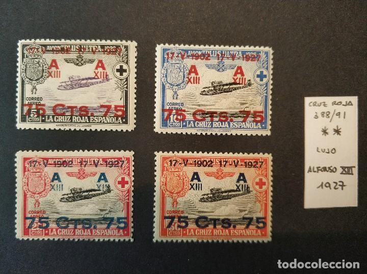 SERIE DE CRUZ ROJA ALFONSO XIII - AÑO 1927 - EDIFIL 388-391 - NUEVO SIN CHARNELA - LUJO (Sellos - España - Alfonso XIII de 1.886 a 1.931 - Nuevos)