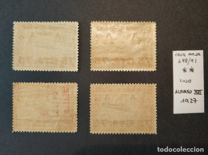 Sellos: Serie de Cruz Roja Alfonso XIII - Año 1927 - Edifil 388-391 - Nuevo Sin Charnela - Lujo - Foto 2 - 130319902