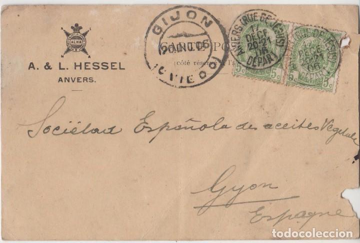 TARJETA POSTAL PUBLICITARIA CON SELLOS Y MATA SELLOS GIJON AÑO 1906 (Sellos - España - Alfonso XIII de 1.886 a 1.931 - Usados)