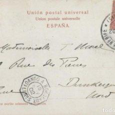 Sellos: CANARIAS. POSTAL DE 1902 DE SANTA CRUZ DE TENERIFE A FRANCIA POR BARCO FRANCÉS. Lote 131574722