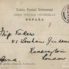 Sellos: CANARIAS. POSTAL DE 1904 DE LAS PALMAS A LONDRES CON MATASELLOS PAQUEBOT/PLYMOUTH. Lote 131632162