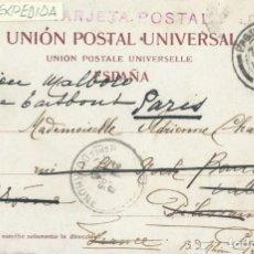 Sellos: CANARIAS. POSTAL DE 1906 DE LAS PALMAS A FRANCIA Y ALLÍ REEXPEDIDA, CON MATASELLOS PAQUEBOT/PLYMOUTH. Lote 131632426