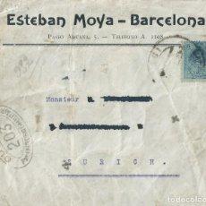 Sellos: SOBRE COMERCIAL DE 1917 DE BARCELONA A SUIZA, CON VIÑETA PRO PATRIA AL DORSO Y CENSURA FRANCESA.. Lote 131633574