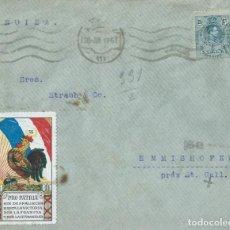 Sellos: SOBRE DE 1917 DE MADRID A SUIZA, CON VIÑETA PRO PATRIA Y CENSURA FRANCESA AL DORSO.. Lote 131633762