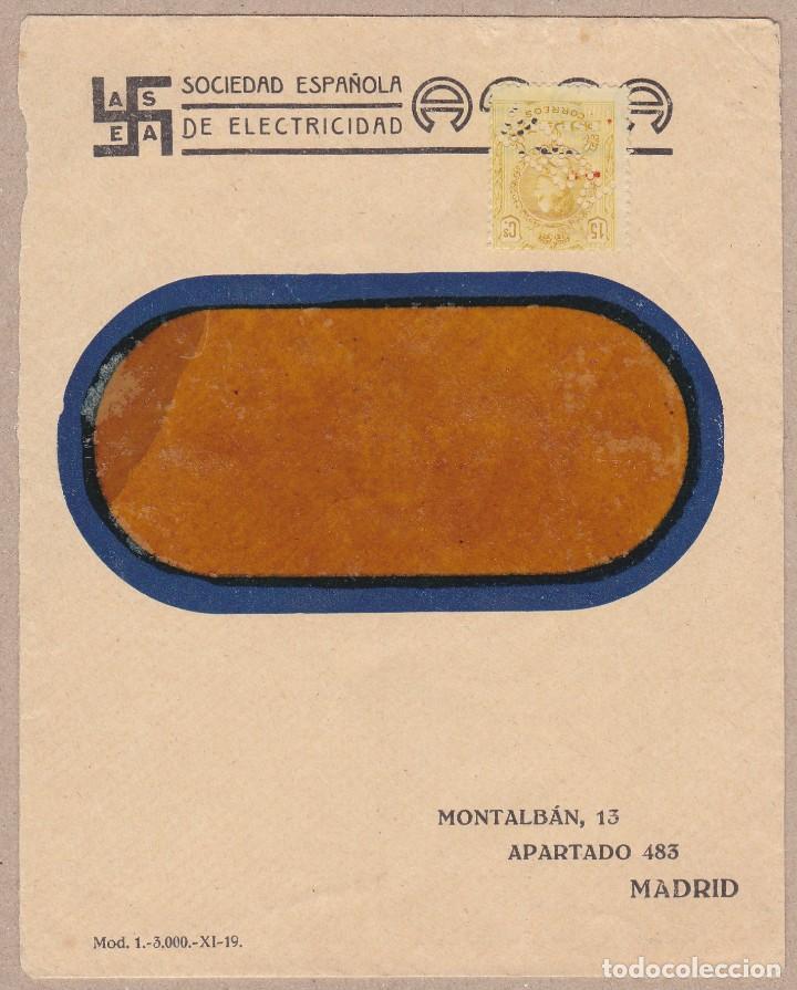 MEDALLON EN CARTA A MADRID PERFORADO ASEA SOCIEDAD ESPAÑOLA DE ELECTRICIDAD (Sellos - España - Alfonso XIII de 1.886 a 1.931 - Cartas)