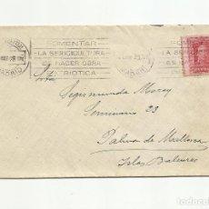 Sellos: CIRCULADA 1928 DE MADRID A PALMA DE MALLORCA BALEARES RODILLO SERICULTURA VER FOTO. Lote 136389210