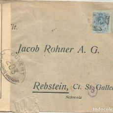 Sellos: CC ALFONSO XIII 1917 A SUIZA MAT AMBULANTE Y CENSURA FRANCESA AL DORSO LLEGADA. Lote 136604102
