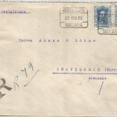 Sellos: MALAGA CC ALFONSO XIII MAT CERTIFICADO MALAGA 1923. Lote 136604622