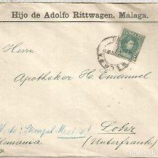 Sellos: MALAGA 1901 CC A ALEMANIA CON ABSURDO TRANSITO POR MEXICO SELLO ALFONSO XIII CADETE. Lote 136606670