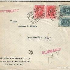 Sellos: BARCELONA 1927 CC CERTIFICADA A ALEMANIA SELLOS VAQUER . Lote 136606914