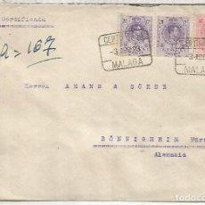 Sellos: MALAGA 1923 CC CERTIFICADA A ALEMANIA SELLOS MEDALLON. Lote 136607438