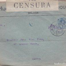 Sellos: CARTA DE MÁLAGA A GINEBRA QUE POR ERROR DEL REMITENTE FUÉ REENVIADA A GÉNOVA (ITALIA). Lote 137217914