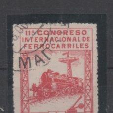 Sellos: ESPAÑA_EDIFIL Nº 480_CONGRESO DE FERROCARRILES_MATASELLADO_VALOR 178 EUROS_VER FOTOS. Lote 137528254