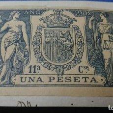 Sellos: SELLO PAPELES OFICIALES, FISCALES, TIMBRE. 11º CLASE C. AÑO 1902. UNA PESETAS. EN FRAGMENTO DE PAPEL. Lote 139441310