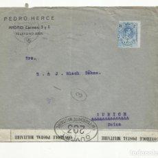 Sellos: CIRCULADA 1918 DE MADRID A ZURICH SUIZA CON CENSURA MILITAR. Lote 139490386