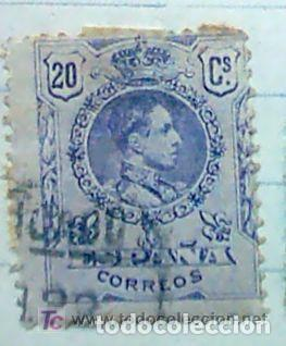 SELLO, ALFONSO XIII MEDALLON 20 C. VIOLETA USADO (Sellos - España - Alfonso XIII de 1.886 a 1.931 - Usados)
